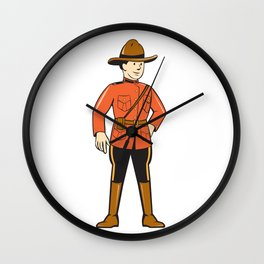 Mounted Police Officer Standing Front Wall Clock