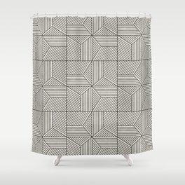 bohemian geometric tiles - bone Shower Curtain