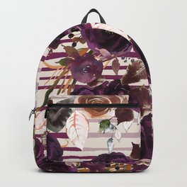 Watercolor ivory purple burgundy brown floral stripes Backpack