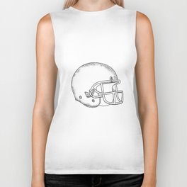 American Football Helmet Black and White Drawing Biker Tank