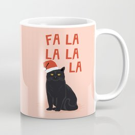 Black Cat cute fa la la christmas xmas tree holiday funny cat art cat lady gift unique pet gifts Coffee Mug