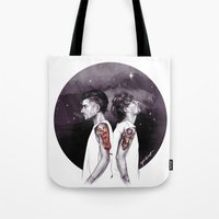 cyrilliart Tote Bags featuring The Tiger and The Stag by Cyrilliart