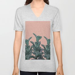 Rubber trees in group with beige pink Unisex V-Neck