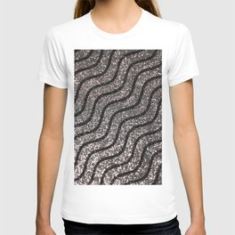 Silver Glitter With Black Squiggles Pattern T-shirt