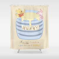 pooh Shower Curtains featuring Winnie the Pooh - Hunny Dip by sunshinecandy