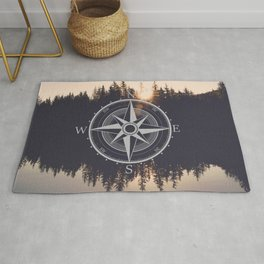 Wooded Lake Reflection Compass Rug