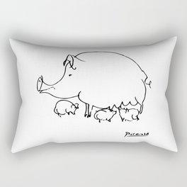 Pablo Picasso Pig Drawing, Lines Sketch, Animals Artowork, Men, Women, Kids, Tshirts, Posters, Print Rectangular Pillow