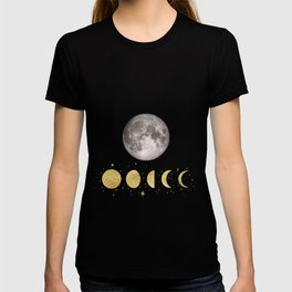 Elegant Abstract Gold Moon Phases T-shirt