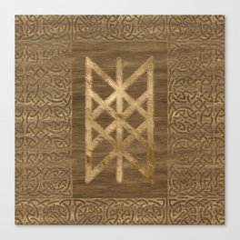 Web of Wyrd The Matrix of Fate - Gold and Wood Canvas Print