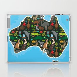map of Australia. Wombat Echidna Platypus Emu Tasmanian devil Cockatoo kangaroo dingo octopus fish Laptop & iPad Skin