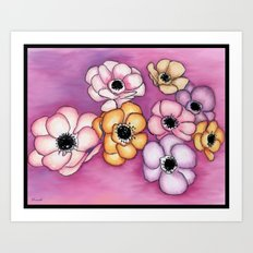 Framed Anemones on Purple Haze Art Print