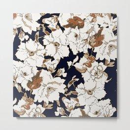 Navy, Rust, White Woodcut Peony Floral Print Metal Print
