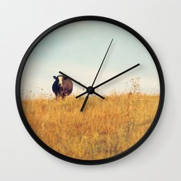 Moooo -- Autumn Landscape -- Cow in a Pasture Wall Clock
