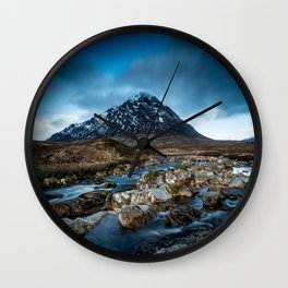 Mountain ice clouds blue Wall Clock