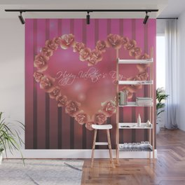 Illustration for Valentines day with heart shaped frame with roses Wall Mural