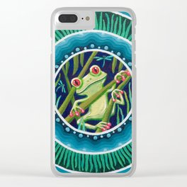 Green Tree Frog Mandala Clear iPhone Case