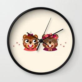 Jumelles castor Wall Clock