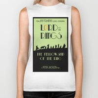 lotr Biker Tanks featuring LOTR The Fellowship of the Ring Minimalist Poster by Sean Breeding Arthouse