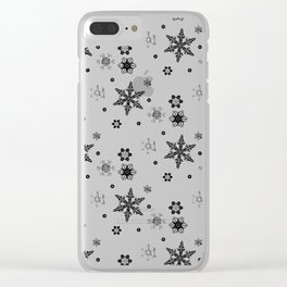 Snowflakes (Black) Clear iPhone Case