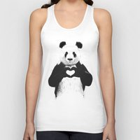 black white Tank Tops featuring All you need is love by Balazs Solti