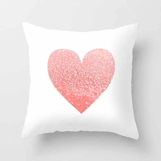 Throw Pillow Covers Society6 : CORAL HEART Throw Pillow by Monika Strigel Society6