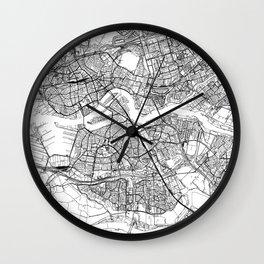 Rotterdam White Map Wall Clock
