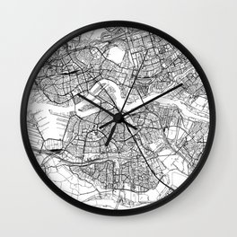 Rotterdam White Map Wall Clock
