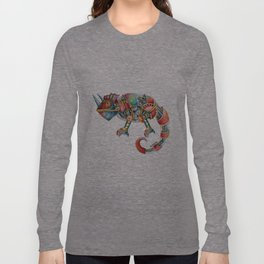 Steampunk Chameleon Watercolour Painting Long Sleeve T-shirt