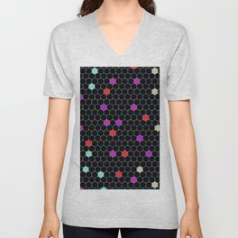 Repeating Gradient  Abstract Hexagon Pattern With Random Colors Unisex V-Neck