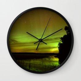Northern Lights Dominating The Horizon Wall Clock