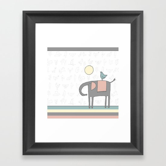 Elephant and birds Framed Art Print
