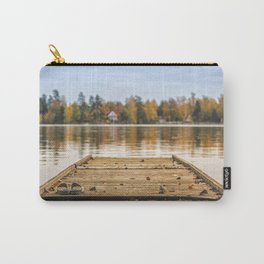 Pictuer of old slippers on the wooden pier with beautiful autumn background. Carry-All Pouch