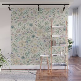 Country Flowers - Tan Wall Mural