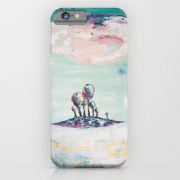 Magical Mint Island - Pastel Painting of Trees and Clouds iPhone Case