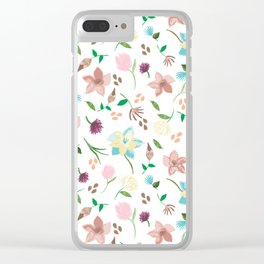 Tropical pastel themed pattern Clear iPhone Case