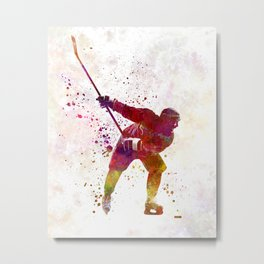 Hockey man player 02 in watercolor Metal Print
