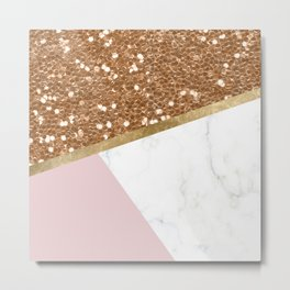 Glittering golden marble geo Metal Print