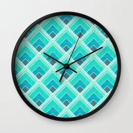 Teal Diamond Art Deco Gradiant fan Wall Clock