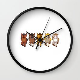 Horsing Shirt For Horse Lovers With Illustration Of Different Color Of Horses T-shirt Design Wall Clock