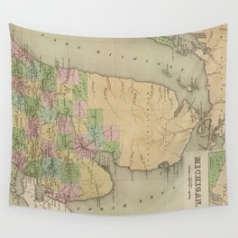 Vintage Map of Michigan (1838) Wall Tapestry