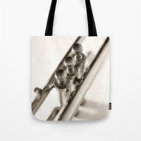 trumpet Tote Bags featuring trumpet by laika in cosmos