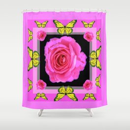 Lavender Fuchsia Pink Rose Butterfly Art Shower Curtain