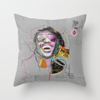 stevie nicks Throw Pillows featuring Stevie Wonder by Fitacola