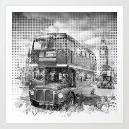 Graphic Art LONDON WESTMINSTER Buses | Monochrome Art Print