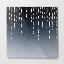 Rhinestone Faux Glitter Line On Dark Blue Metal Print