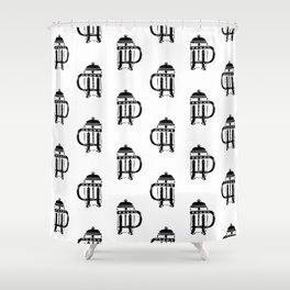 French Press linocut black and white pattern coffee art kitchen pattern art Shower Curtain