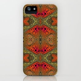 Whimsical pink, orange and green retro pattern  iPhone Case