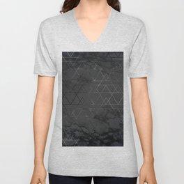Silver Platinum Geometric Black Mable Triangle Pattern Unisex V-Neck