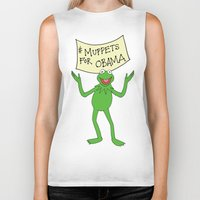 muppets Biker Tanks featuring Muppets for Obama by Illustrated by Jenny