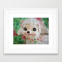lamb Framed Art Prints featuring  lamb  by Vintage  Cuteness